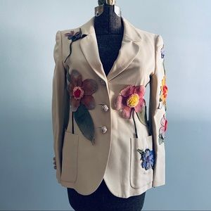 Moschino tan flower blazer